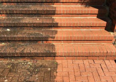 Pressure washing steps - before and after